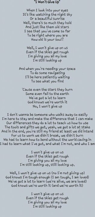 I won't give up lyrics by Jason Mraz....beautiful song