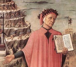 Dante Alighieri, before the Mountain of Purgatory
