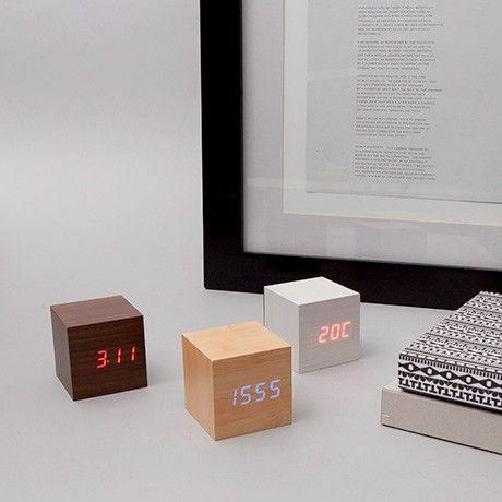 Cube Wecker - Buche/Blau von Gingko Electronics | MONOQI