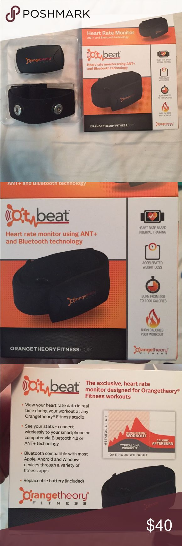 """Orange theory beat heart rate monitor Used once for orange theory. Box and directions included. Size small medium. I am 38"""" inches around the chest and it fits me perfectly. Would fit anywhere from 32-40 inches around the chest strap Accessories"""