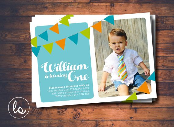 DIY PRINTABLE ~ Boy Birthday Invitation ~ Photo Invitation ~ Bunting Invitation ~ Birthday Invitation ~ Printed Invitations