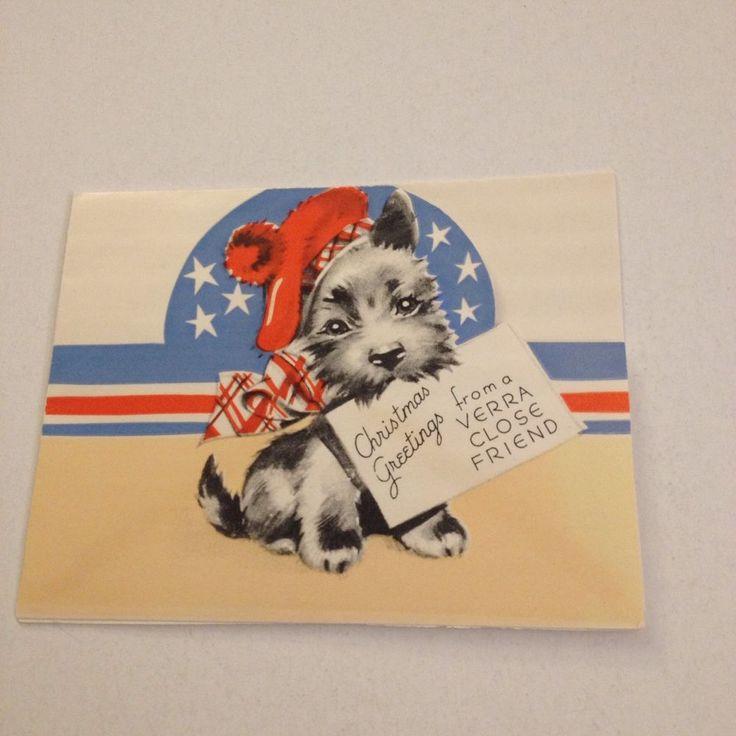 Vintage Greeting Card Christmas Patriotic Stars Scottie Dog Terrier