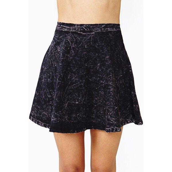 Dark Acid Skater Skirt (110 BRL) ❤ liked on Polyvore featuring skirts, black, high rise skirts, high-waisted skirt, acid wash circle skirt, high waisted skater skirt and high waisted skirt