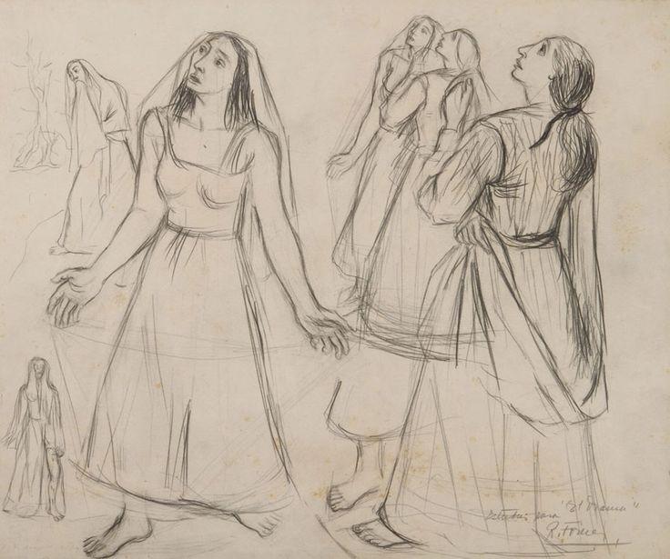 Estudio para El drama- Grafito sobre papel - Raquel Forner (Argentina 1902-1988) Museo Nacional de Bellas Artes de Buenos Aires