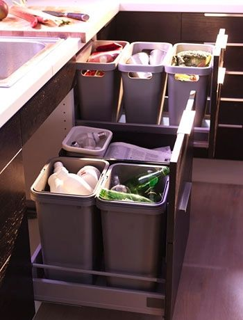 Install some cupboard bins - decluttering a kitchen, storage ideas