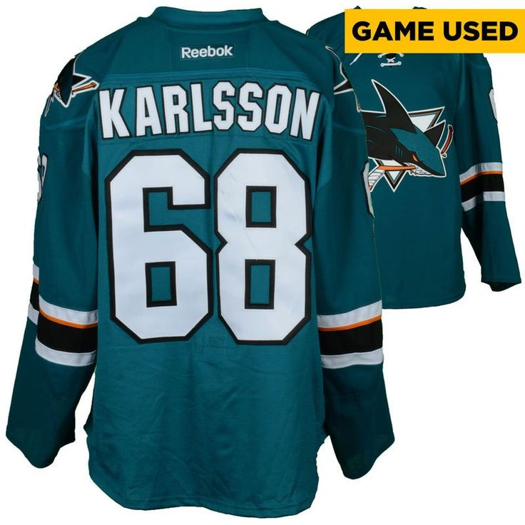 Melker Karlsson San Jose Sharks Fanatics Authentic Game-Used Home Teal #68 Jersey used vs. Calgary Flames on April 8, 2017 - Size 56