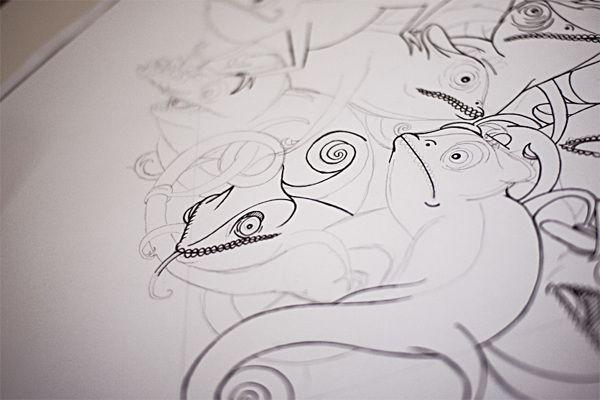 Chameleon Pattern by Kenny Lindström, via Behance