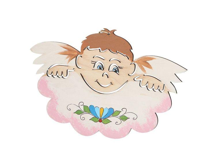 Aniołek kaszubski na chmurce (malowany na drewnie - różowy) CZEC Książki i upominki z Kaszub i Pomorza