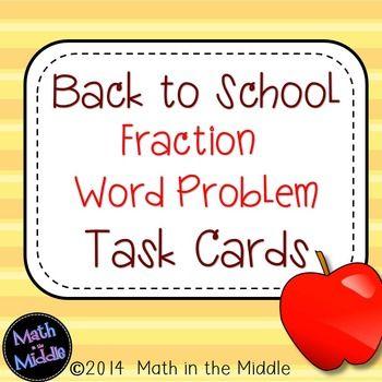 Back to School Fraction Word Problem Task Cards