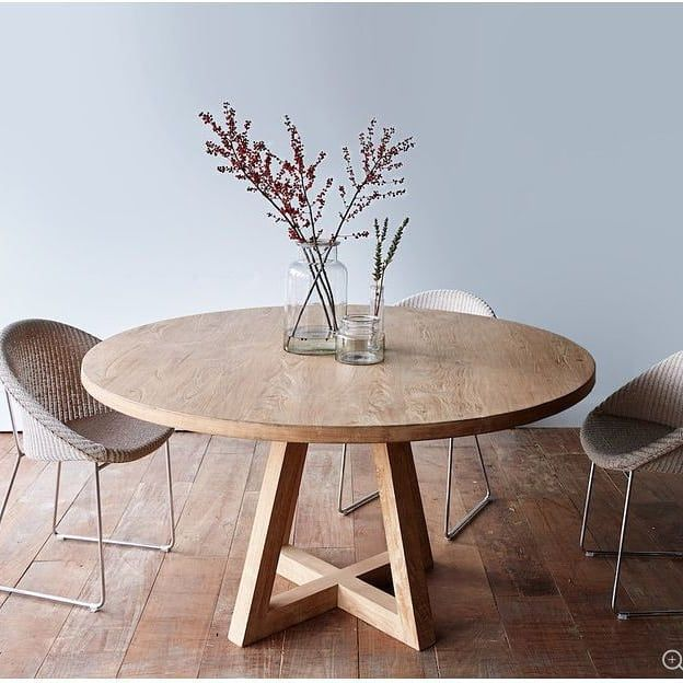 New The 10 Best Home Decor With Pictures American White Oak Dining Table In A Natural Finis Circular Dining Table Teak Dining Table Wooden Dining Tables