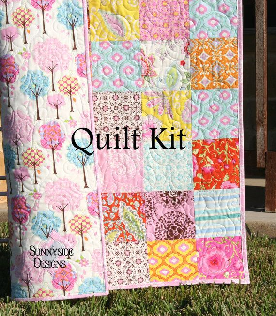 141 best baby quilt kits images on pinterest quilt kits baby quilt kit pretty little things baby patchwork girl crib dena designs diy do it yourself project modern pink aqua trees free spirit solutioingenieria Images