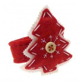rond de serviette en feutrine sapin rouge