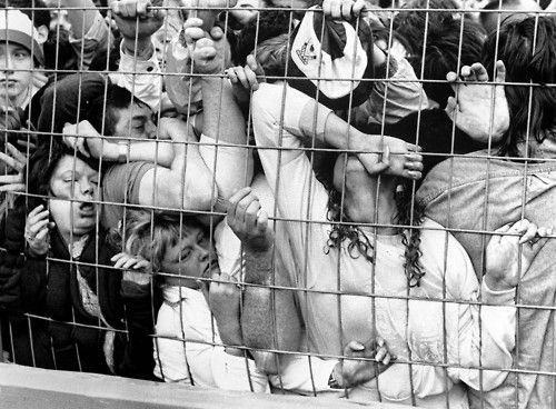 Fans being crushed against the fence in the Liverpool enclosure at the Hillsborough Stadium in Sheffield, England, 15 April 1989. 96 were killed and 766 injured. - via reddit[[MORE]]namraka:The Hillsborough disaster occurred on 15 April 1989 at the Hillsborough Stadium in Sheffield, England. During the FA Cup semi-final match between Liverpool and Nottingham Forest football clubs, a human crush resulted in the deaths of 96 people and injuries to 766 others. The incident has since been blamed…