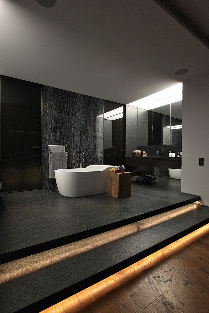dark minimalist bathroom