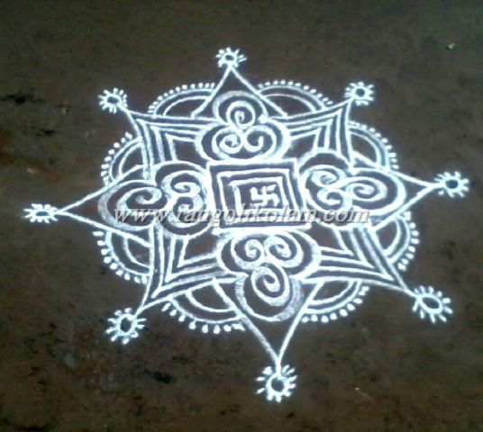 Its freehand design white kolam on thuesday evening