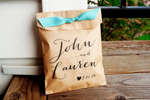 Country Calligraphy Names - Personalized Wedding Favor Bag - Flat Kraft Bags - 25 Bags on Etsy, $22.50