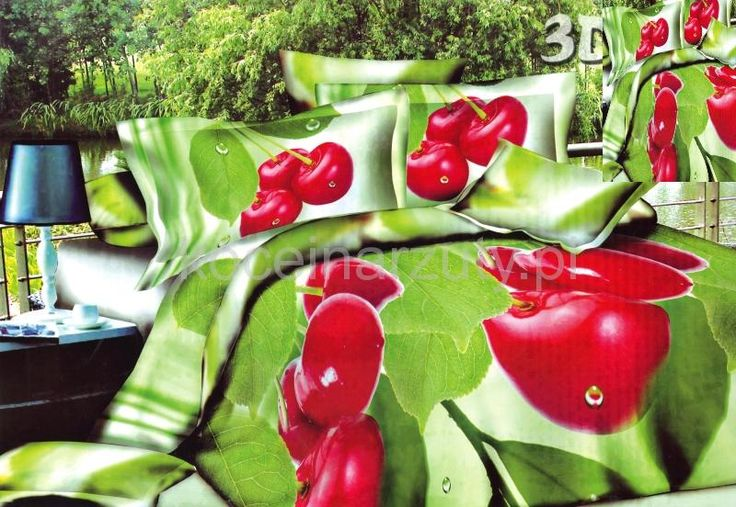 Modne pościele z satyny bawełnianej w kolorze zielonym w wiśnie