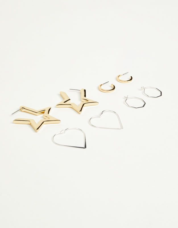 Pack of star and heart-shaped hoop earrings - Jewellery - Accessories - Woman - PULL&BEAR Romania