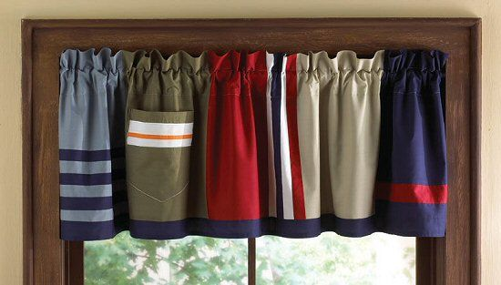 Patchwork Window Valance for Boys Red Blue Khaki