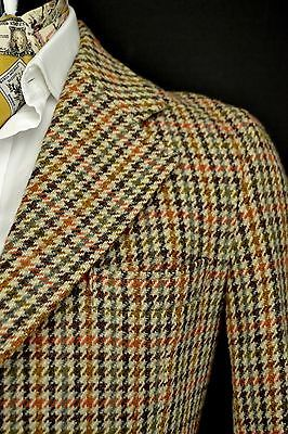 "VINTAGE Dunn & Co 3 pulsante Harris Tweed Giacca taglia 4 ""Short Blue & Brown"