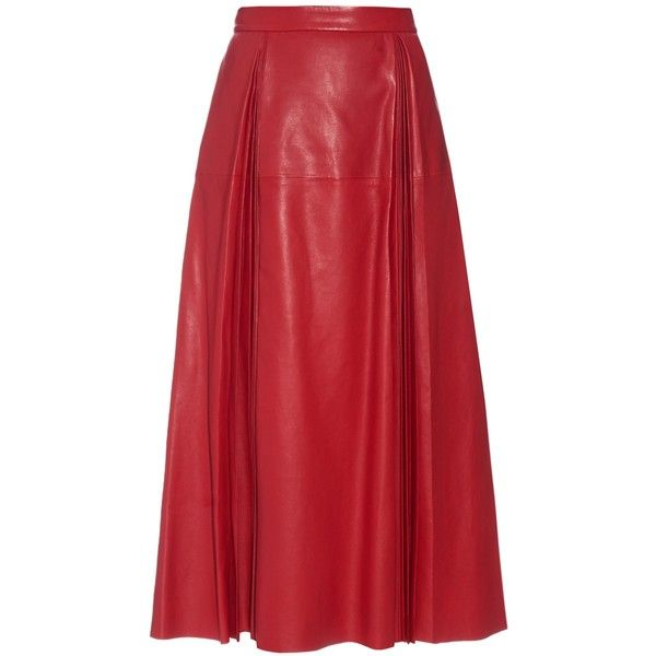 Gucci Pleated leather midi skirt ($3,731) ❤ liked on Polyvore featuring skirts, bottoms, gonne, gucci, red, leather midi skirt, midi skirt, red leather skirt, leather skirt and high waisted skirts