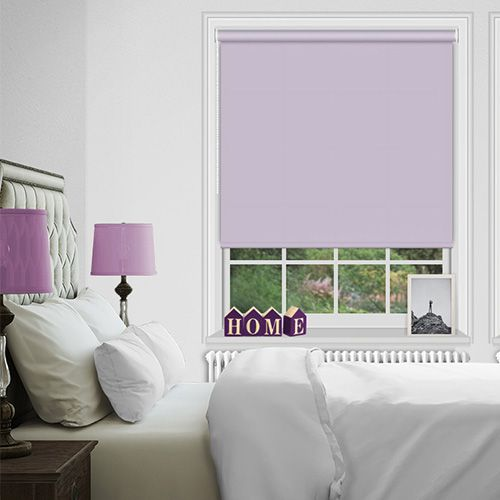 A blackout roller blind in a shade of purple