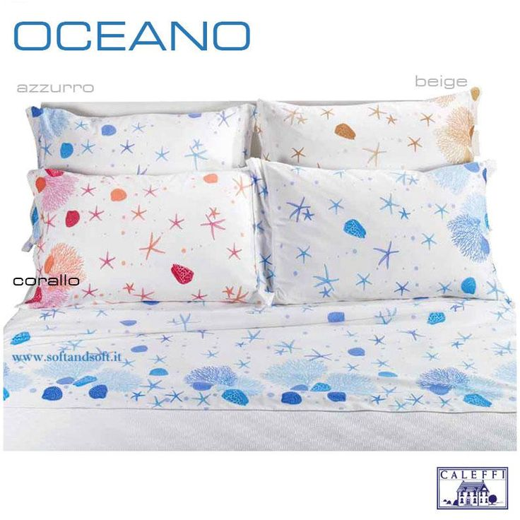 OCEANO Completo Lenzuola per letto Matrimoniale CALEFFI  Fresco allegro divertente! Porta l'estate in casa!