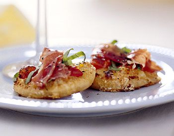 Pizzette with Fontina, Tomato, Basil, and Prosciutto