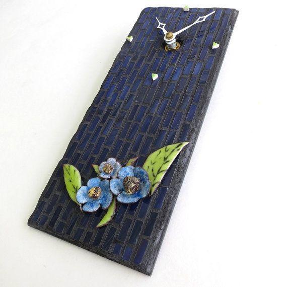 Small Wall Clock Blue Floral Clock Artisan Handmade by MosaicSmith