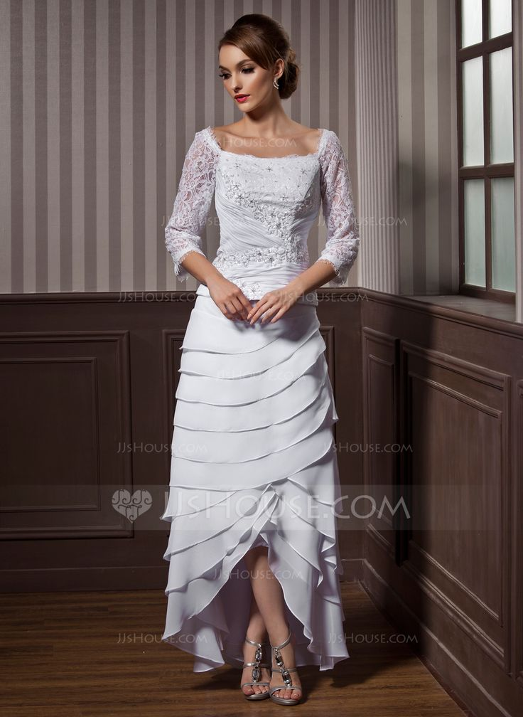 A-Line/Princess Square Neckline Asymmetrical Lace Beading Cascading Ruffles Zipper Up Sleeves 3/4 Sleeves Hall General Plus No Fall White Chiffon Wedding Dress