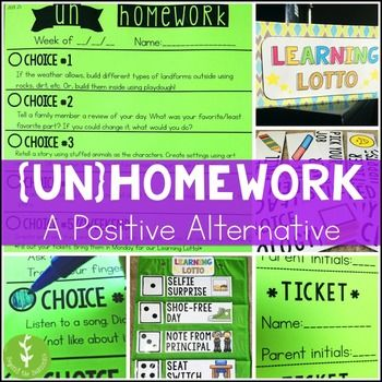 This alternative homework system will save you and your students time, frustration, and did I mention time? Studies have repeatedly shown a very weak correlation between homework and achievement in the primary grades. To give a general overview of Un-Homework: Each week, students have a paper with 5 choices on it. For each choice they complete, students can fill out a Learning Lotto raffle ticket. Every Monday, raffle tickets are entered into a drawing.