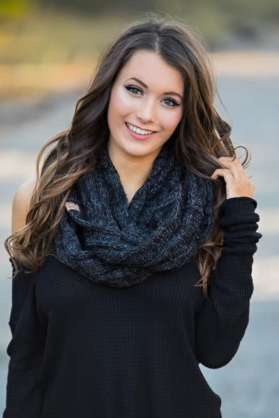 CC Braided Knit Infinity Scarf (Charcoal)