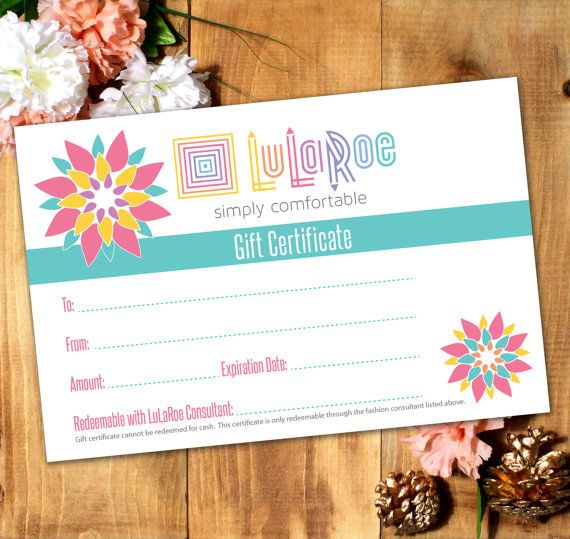 lularoe gift certificate printable  digital by
