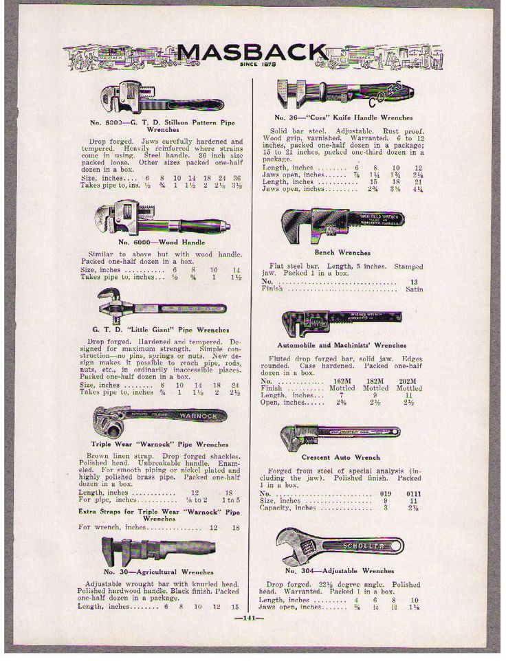 1932 Ad CRESENT WRENCH DISPLAY, TAP WRENCHES, AUTO WRENCH, STILLSON PIPE WRENCH | eBay