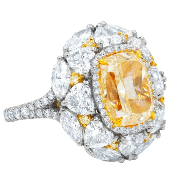 GIA Certified 5.01 Carats Canary Yellow Diamond Ring 1
