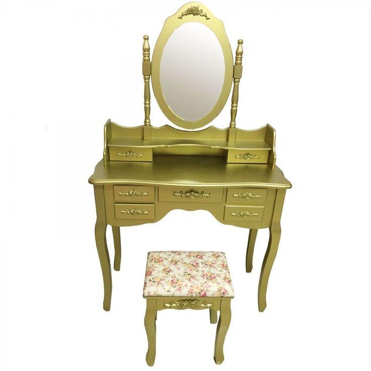 SEAU102 Set auriu masa de toaleta - http://www.emobili.ro/cumpara/seau102-set-masa-aurie-toaleta-cosmetica-machiaj-oglinda-masuta-439 #eMobili