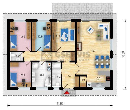 Projekt bungalovu Miami - půdorys přízemí