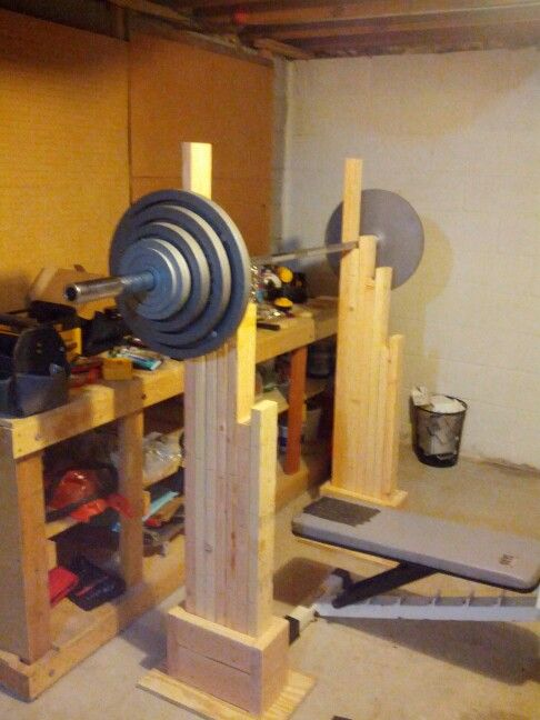 My homemade squat and bench rack. ~$50 cost, few hours to make!!