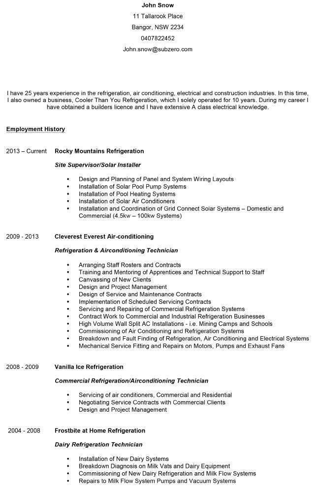 The 25+ best Example of cv ideas on Pinterest Example of resume - refrigeration mechanic sample resume
