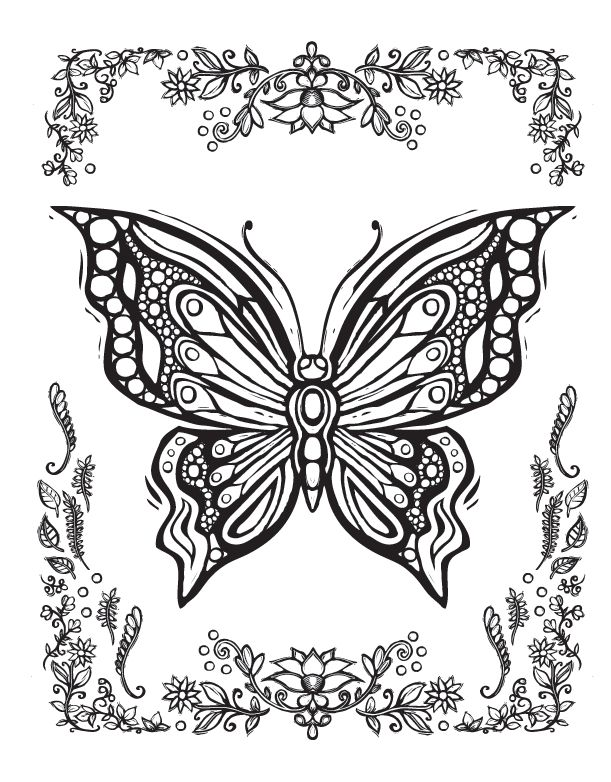 sacred nature butterfly papillon mariposas vlinders wings graceful amazing coloring pages colouring adult detailed advanced printable