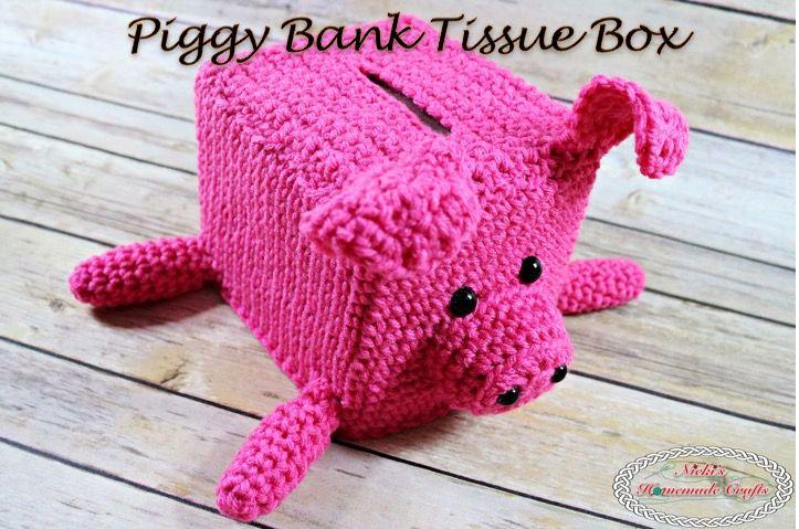 Piggy Bank Tissue Box - Free Crochet Pattern - Nicki's Homemade Crafts