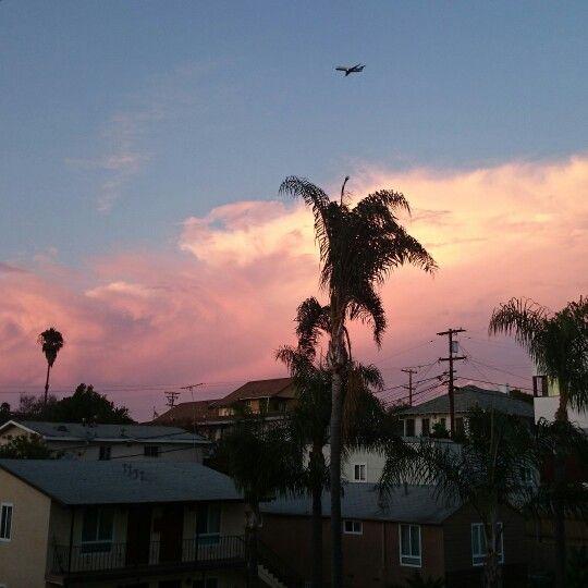 #sunset #sandiego #california #palm #cloud #pink #broadway #happy