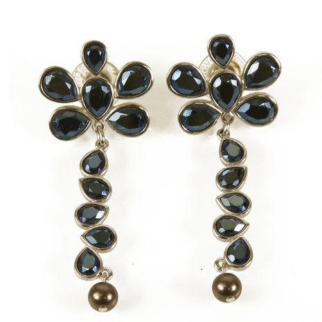 Swarovski Blue Tone Crystals Silver tone Hardware Long Flower Earrings in Box