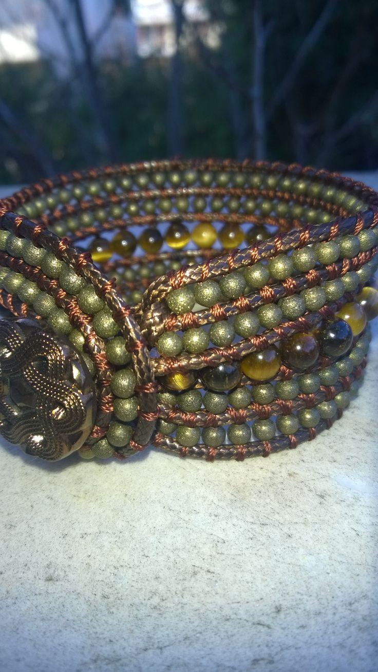 Eye of tiger and bronze bead  triple bracelet