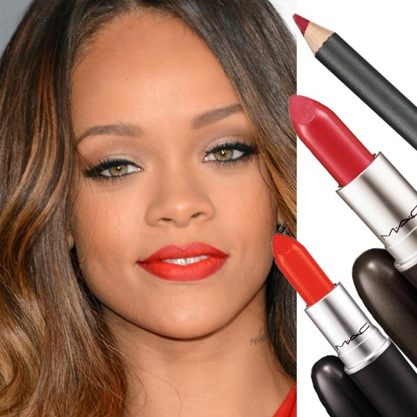 Rihanna-grammy: Mix of Lady Danger, Ruby Woo and Cherry lip-pencil from MAC!