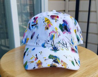 edbbaa002f7c2a White Baseball Cap, Customized Hat, Dad Hat, Tumblr Hat, Splatter Paint Hat,  Acrylic Paint Hat, Colorful Hat