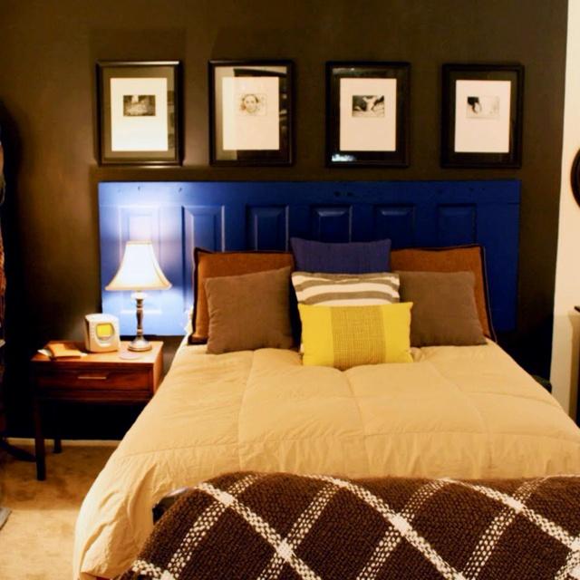 Door headboard - realistically  how it might look.. but this bed seems smaller than a king
