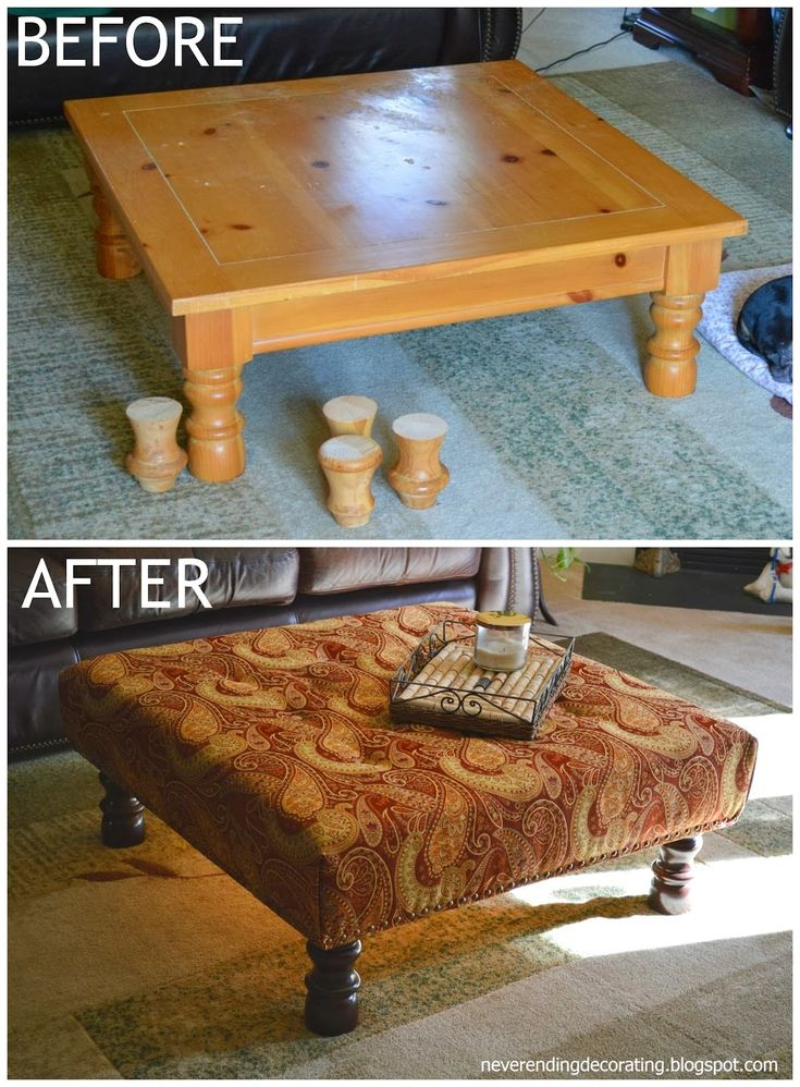 Before and after - coffee table to upholstered ottoman with step by step directions. #furniture #diy