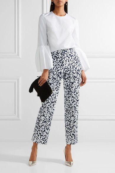 Oscar de la Renta - Cropped Printed Stretch-canvas Straight-leg Pants - White - US