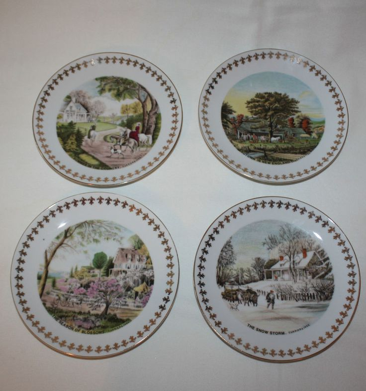 Vintage Currier And Ives Four Seasons Decorative Wall Plates Gold Trimmed  Japan